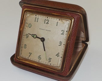 Vintage Phinney Walker Travel Clock in Genuine Leather Clamp Shell Case |  Windup Travel Mechanical Analogue Clock | Old and Worn Out Clock