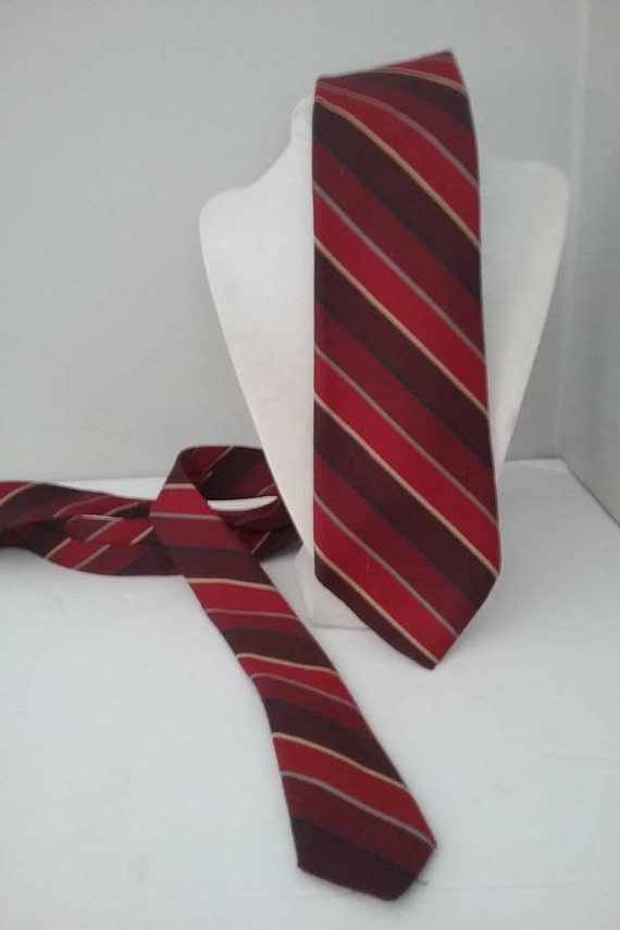 Men's Silk Tie, Steampunk Tie, Diesel Punk Tie, Vintage Tie, Silk and Wool, Red and Burgundy Striped Tie, Vintage Saddle Club Striped Tie