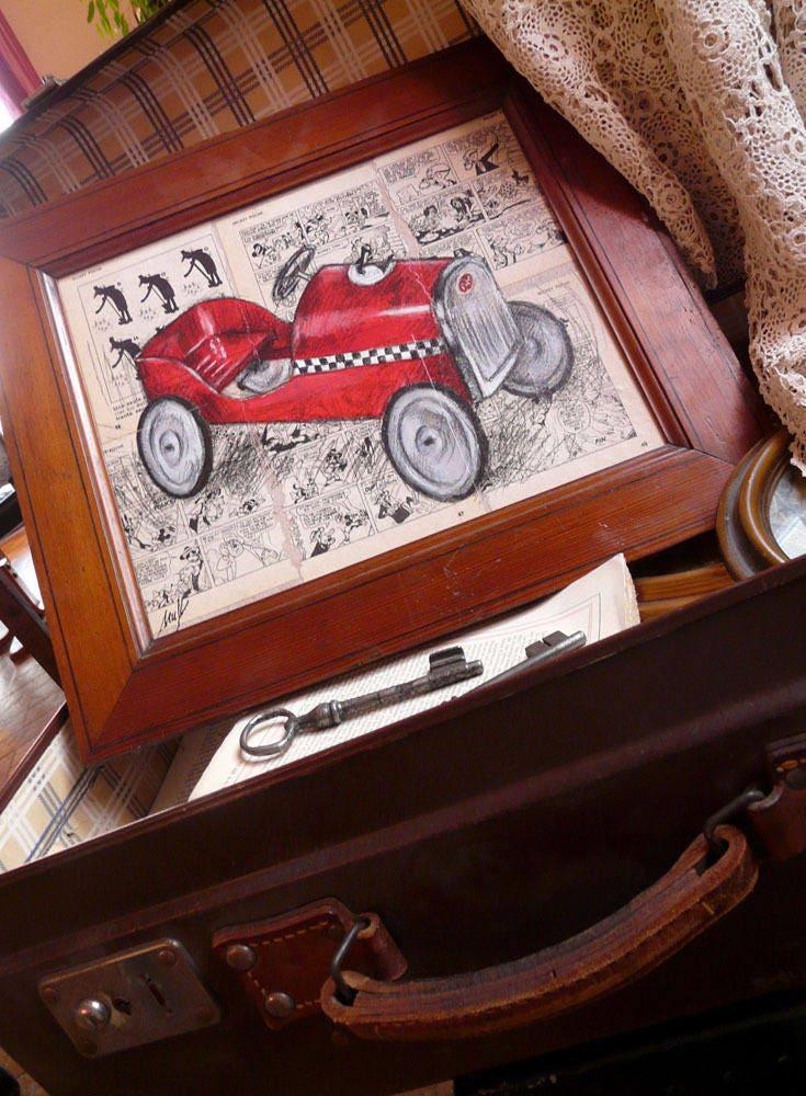 voiture p dale ancienne tableau dessin et peinture sur. Black Bedroom Furniture Sets. Home Design Ideas
