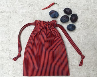 smallbag unique striped red and blue - reusable cotton bag - zero waste