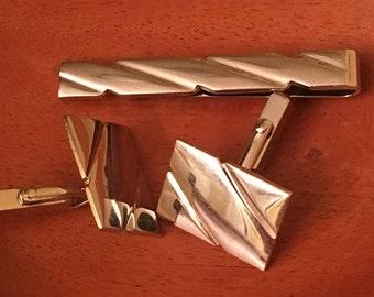 Vintage Swank Sterling Cuff links / Cufflinks and Tie Clip