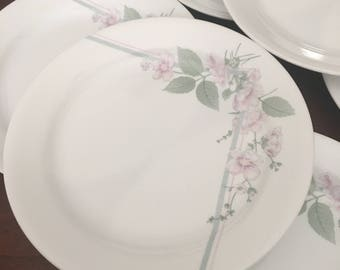 Corelle Veranda Set of 4 Salad Plates - Pink Flowers and Green Leaves