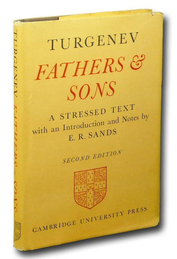 Fathers & Sons: A Stressed Text with Introduction and Notes by E.R. Sands 1965 Turgenev Hardcover HC w/ Dust Jacket DJ