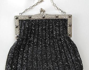 Antique Art Deco Black Beaded Bag Purse Silver Metal Frame C 1920 Flapper Minty Condition
