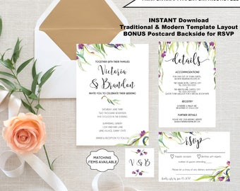 Wedding Invitation Template Set EDITABLE Traditional Formal Modern Invitation RSVP Card Detail Card Printable Willow Purple Greenery PCWHWS