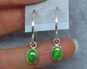 Petite Arizona Mojave Green Copper Turquoise Hammered Hoop Earrings - Sterling Silver - Oval Drops - Dainty Simple - 171103