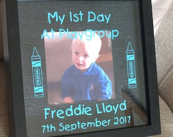 first day at playgroup, my first day, school, nursery, playgroup, college, photo frame, personalised keepsake, christmas present, wall decor