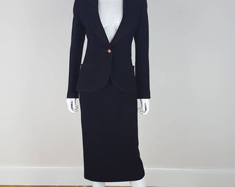 VINTAGE Emanuel Ungaro Fitted Two Piece Skirt Suit (UK 8)