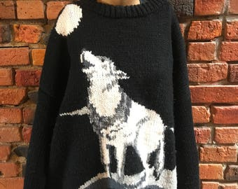 Vintage Handmade Knit Sweater with Wolf Pattern Pullover 1527