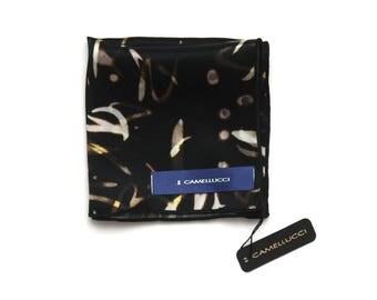 Men's Black printed Silk Pocket Square Handkerchief Hanky Hankie Squares Camellucci
