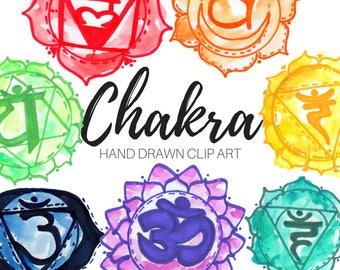 Watercolor clip art - Chakra Clip Art - Rainbow clip art - Zen Clip art -Commercial Use