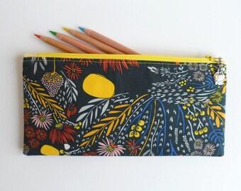 Gift for teacher, No. 1 Teacher charm, navy fabric, pencil case, small zipper purse, sunglasses case, handbag organizer, ready to ship