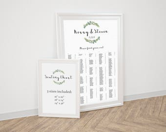 Greenery Seating Chart Eucalyptus Wreath Watercolor Seating Chart Template Wedding Seating Chart Printable Wedding Template Alphabetical RE1