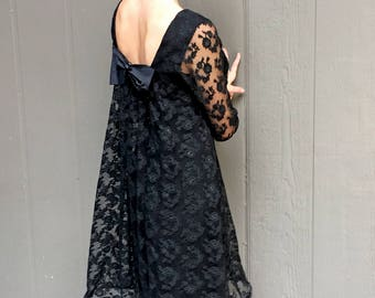 1960's Black Lace Swing w/ Fitted Dress and Bow Detail