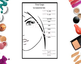 Custom Color Palette | Makeup | Digital File | 5 x 7 | Marketing Form | Printable | Instant Download | Makeup party printable | Makeup Form
