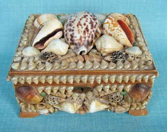 Vintage Seashell Decorated Wooden Treasures Box