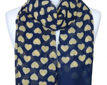 Heart Scarf, Yellow Hearts, Navy Blue Scarf, Full of Love Scarf, Spring Summer Scarf, Womens Gift, Gift for her, Womens Scarves, Accessories