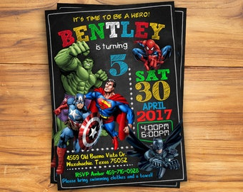 Superhero Invitation / Superhero Avenger Birthday Invitation / Avenger Invitation / Boy Invitation / Birthday Invitation / Invitation