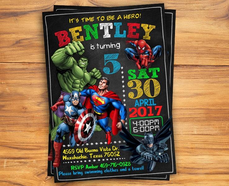 Superhero Invitation / Superhero Avenger Birthday Invitation