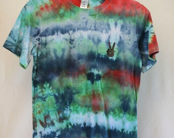 Size 14 - Ready To Ship - Unisex - Children - Kids - Iced Tie Dyed T-shirt - Green - Blue - Red - 100% Cotton - FREE SHIPPING within Aus