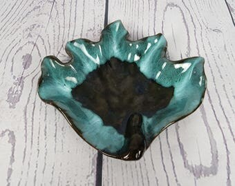 Vintage Turquoise and Brown Swan Trinket Dish RCAP Ware Pottery Royal Canadian Art Pottery Cannuck Candy Bowl  Modern Mid Century Ashtray