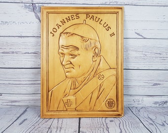 Vintage Pope John Paul II Carved Wood Plaque Wall Hanging Papal Visit Canada 1984 His Holiness Religious Gift for Christians Catholics