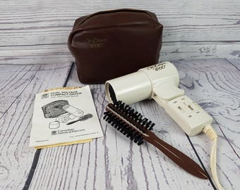 Vintage General Electric Go Dryer 1200 Folding Handle Blow Dryer w/ Travel Case and Styling Brush Hair Dryer Styling Decor Fashion Show Prop