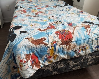 "Vintage Sea World / Twin Bed Comforter Sheet 56"" x 63"" / Parrot Killer whale Pirate Sea Otter Pelican"