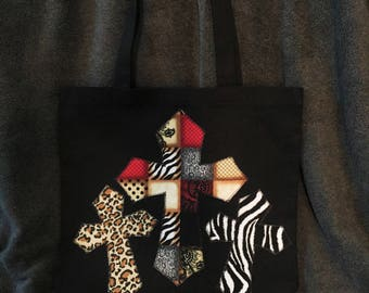 Black Canvas Tote Bag with Animal Print Applique Crosses