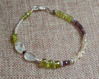 Sincerity Bracelet~ Prehnite, Scapolite, Peridot and Amethyst Sterling Silver~Mother's Day Gift Ideas