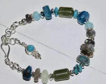 Blue Green Stone Bracelet~ Metaphysical Bracelets~ Chunky Stone Bracelets~ Sterling Silver Artisan Bracelet~