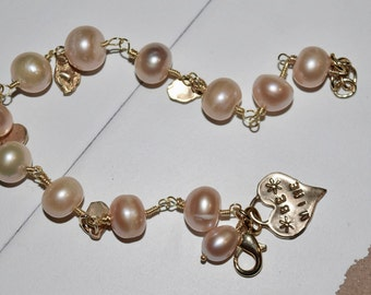 Be Mine Valentine's Day Bracelet~ Freshwater Pearl Bracelet with Artisan Charms~ Gifts for Girlfriend ~