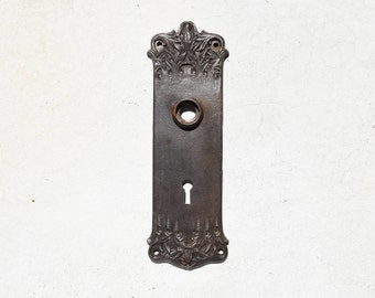 antique art nouveau cast iron door plate / vintage cast iron early 1900s escutcheon