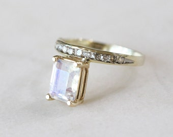 Crescent Moonstone and Diamond Ring