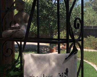 Canvas messenger bag, stencil messenger bag, up cycled messenger bag, canvas cross body bag, canvas messenger purse,