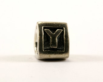 "Vintage Pandora Alphabet Initial ""Y"" Charm Block Bead For European Bracelet Sterling Silver CH 77-E"