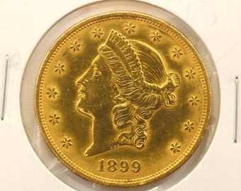 1899 Gold 20 Dollars Liberty Head Double Eagle Gold Coin-E
