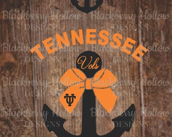 Tennessee Vols Anchor, Cut Files, SVG, Silhouette, DXF, Heat Transfer Projects