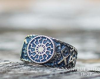 Band Ring Viking Compass