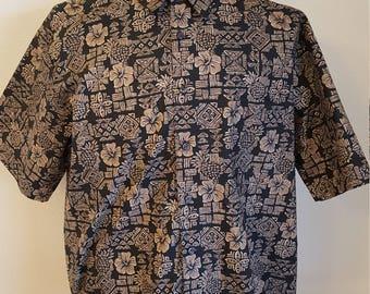 384 - Cooke Street Aloha Hawaiian shirt Large 100% cotton hibiscus pineapple
