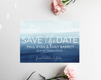 PRINTED Navy Save The Dates, Beach Save The Dates, Save Our Date, Save The Date Invitations