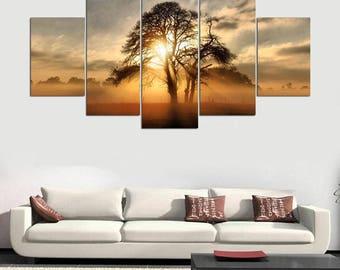Canvas Print 5 Panel Africa Tree Sunrise / Serenity Scenery Canvas Print /  Home Decor / Wall Art / Home Inspiration