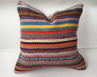 "Turkish kilim pillow,colorful pillow,cushion cover, handmade pillow case,20""x20""inch pillows,kilim pillow, home decor,boho pillow"