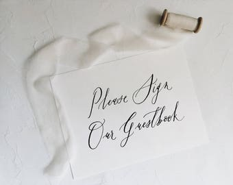 Please Sign Our Guest Book Calligraphy Sign / PRINTABLE digital file / Instant Download