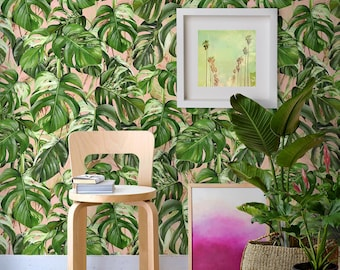 Monstera Palm Leaf Wallpaper, Exotic Removable Wall Paper, Monstera Leaves Wallpaper, Monstera Mural, Jungle Wallcovering, Jungle Wall Decor
