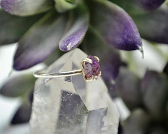 Raw Amethyst Crystal Ring - Sterling Silver & 14k Gold Fill