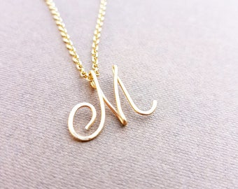 """Cursive Gold Letter, Alphabet, Initial """"m"""" necklace, birthday gift, lucky charm Upper Case letter 'M' Initial Necklace , Letter M Necklace"""
