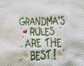 Embroidered Grandma's rules kitchen towel
