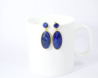 sapphire earring , gemstone stud,blue color stud,natural stone stud,double stone stud, September birthstone stud,oval shape stud,sapphire