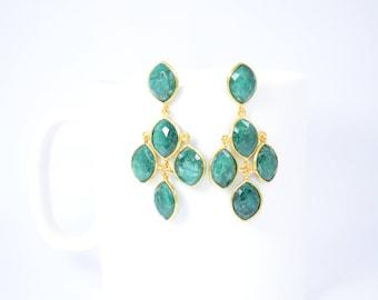 Emerald stud ,chandelier stud,green color stud, natural gemstone stud,gold plating stud,May birthstone stud,marquise stud,
